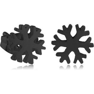 BLACK PVD COATED SURGICAL STEEL EAR STUDS PAIR - SNOWFLAKE