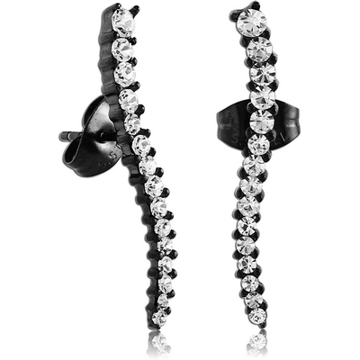 BLACK PVD COATED SURGICAL STEEL JEWELLED EAR STUDS PAIR