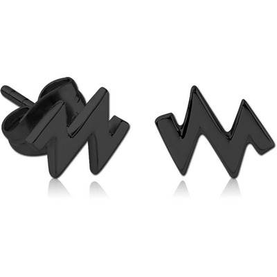 BLACK PVD COATED SURGICAL STEEL EAR STUDS PAIR