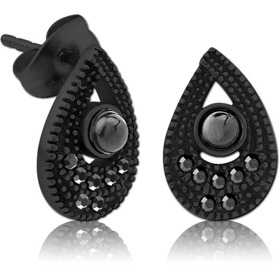 BLACK PVD COATED SURGICAL STEEL JEWELLED EAR STUDS