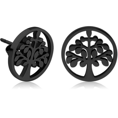 BLACK PVD COATED SURGICAL STEEL EAR STUDS PAIR - TREE