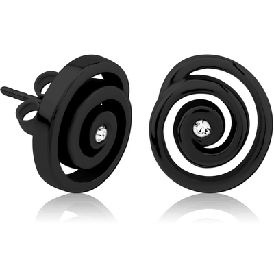 BLACK PVD COATED SURGICAL STEEL JEWELLED EAR STUDS PAIR - SPIRAL