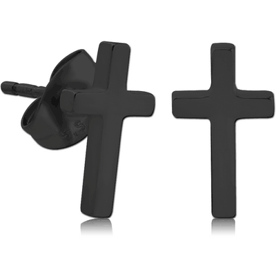 BLACK PVD COATED SURGICAL STEEL EAR STUDS PAIR - CROSS