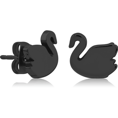 BLACK PVD COATED SURGICAL SURGICAL STEEL EAR STUDS PAIR - SWAN