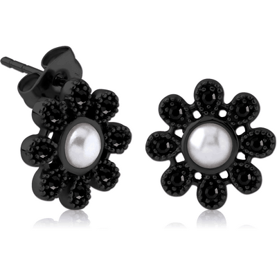 BLACK PVD COATED SURGICAL STEEL JEWELLED EAR STUDS PAIR WITH SYNTATIC PEARL - FLOWER