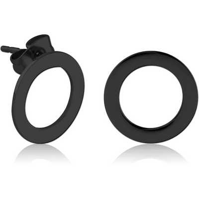 BLACK PVD COATED SURGICAL STEEL EAR STUDS PAIR - O