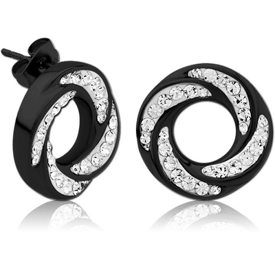 BLACK PVD COATED SURGICAL STEEL CRYSTALINE JEWELLED EAR STUDS PAIR - SPIRAL