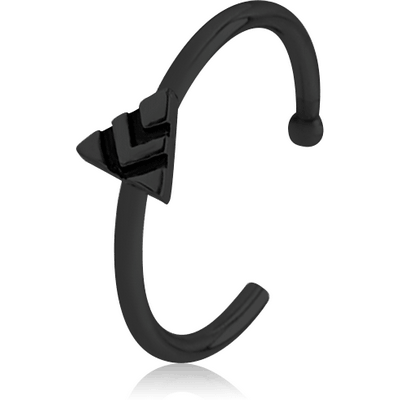 BLACK PVD COATED SURGICAL STEEL OPEN NOSE RING - TRIANGLE