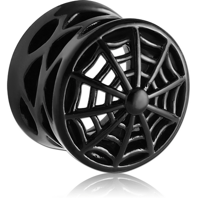 BLACK PVD COATED SURGICAL STEEL DOUBLE FLARED HOLLOW PLUG