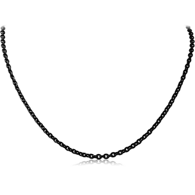 BLACK PVD COATED STAINLESS STEEL BEVEL CUT CABLE NECK CHAIN 45CMS