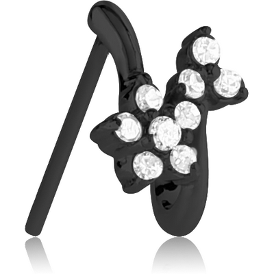 BLACK PVD COATED SURGICAL STEEL STRAIGHT JEWELLED WRAP AROUND NOSE STUD