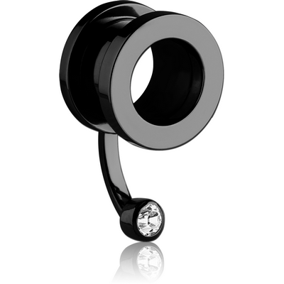 BLACK PVD COATED STAINLESS STEEL JEWELLED THREADED TUNNEL