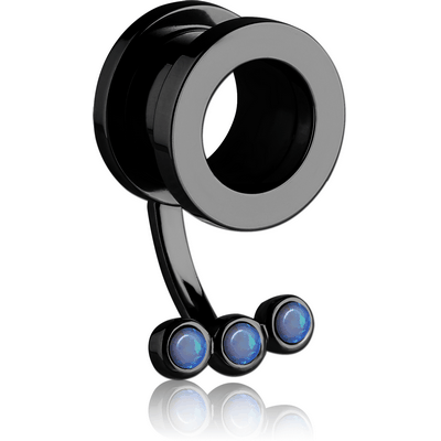 BLACK PVD COATED STAINLESS STEEL THREADED TUNNEL WITH SYNTHETIC OPAL