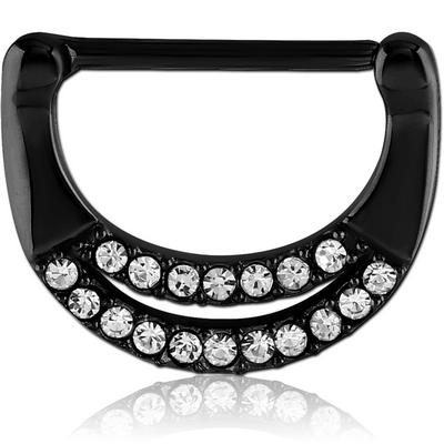 BLACK PVD COATED SURGICAL STEEL JEWELLED NIPPLE CLICKER