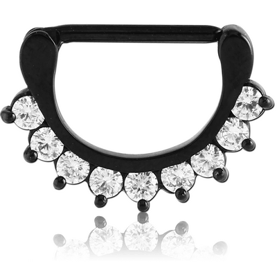 BLACK PVD COATED SURGICAL STEEL PRONG SET JEWELLED NIPPLE CLICKER
