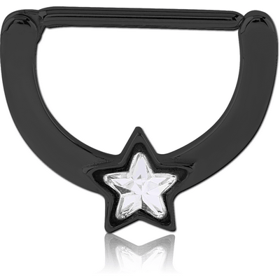 BLACK PVD COATED SURGICAL STEEL JEWELLED NIPPLE CLICKER - STAR