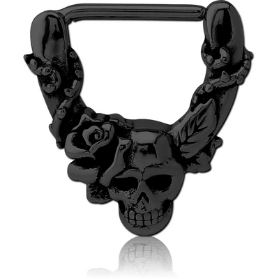 BLACK PVD COATED SURGICAL STEEL NIPPLE CLICKER - SKULLS AND ROSE