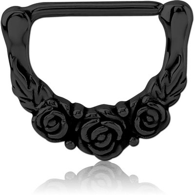 BLACK PVD COATED SURGICAL STEEL NIPPLE CLICKER - ROSE