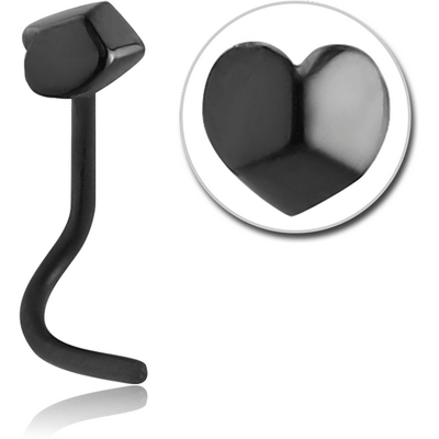 BLACK PVD COATED SURGICAL STEEL CURVED NOSE STUD - 3D HEART