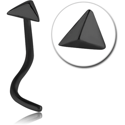 BLACK PVD COATED SURGICAL STEEL CURVED NOSE STUD - 3D TRIANGLE