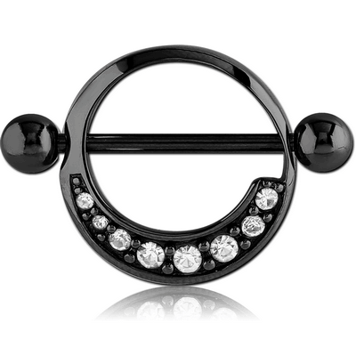 BLACK PVD COATED SURGICAL STEEL JEWELLED NIPPLE SHIELD - ROUND