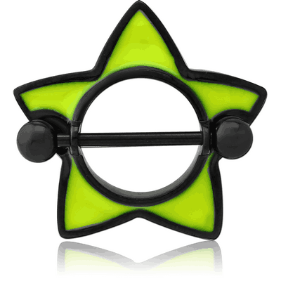 BLACK PVD COATED SURGICAL STEEL ENAMEL NIPPLE SHIELD - STAR