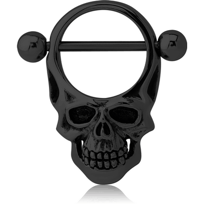 BLACK PVD COATED SURGICAL STEEL NIPPLE SHIELD BAR - ROUND SKULL