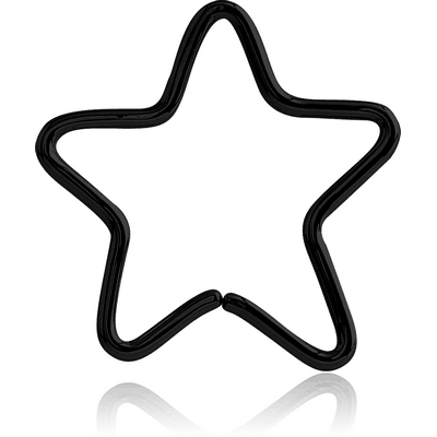 BLACK PVD COATED SURGICAL STEEL OPEN STAR SEAMLESS RING