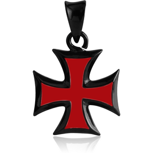 BLACK PVD COATED SURGICAL STEEL PENDANT WITH ENAMEL - IRON CROSS