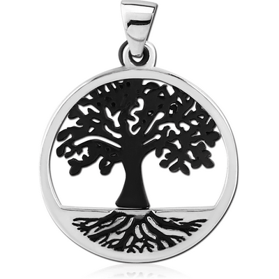 BLACK PVD COATED SURGICAL STEEL PENDANT - TREE OF LIFE