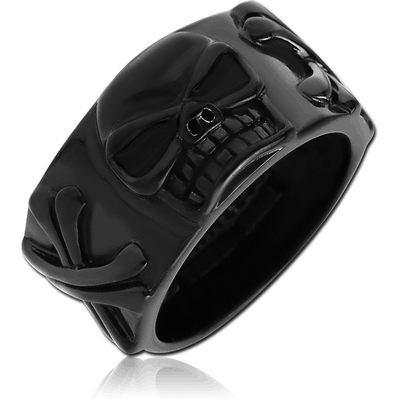 BLACK PVD COATED SURGICAL STEEL RING WITH ENAMEL - SKULL