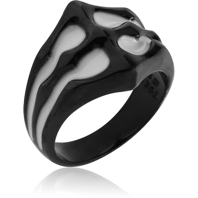 BLACK PVD COATED SURGICAL STEEL RING WITH ENAMEL - SPINE JOINT