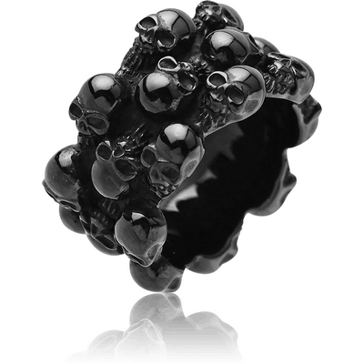 BLACK PVD COATED SURGICAL STEEL RING - SKULL 3 ROWS