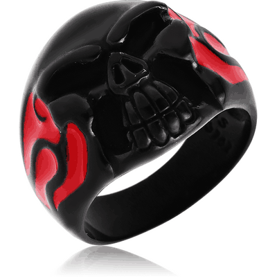 BLACK PVD COATED SURGICAL STEEL RING WITH ENAMEL - STAR WITH SKULL