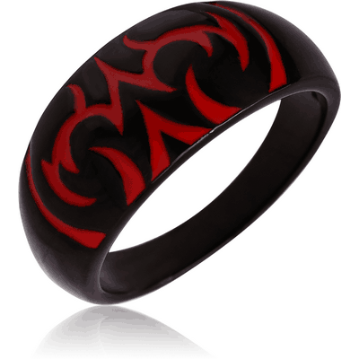 BLACK PVD COATED SURGICAL STEEL RING WITH ENAMEL
