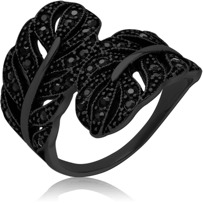 BLACK PVD COATED SURGICAL STEEL JEWELLED RING - TWO LEAF