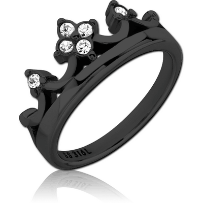 BLACK PVD COATED SURGICAL STEEL JEWELLED RING - CROWN