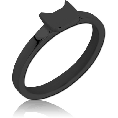BLACK PVD COATED SURGICAL STEEL RING - CAT