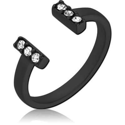 BLACK PVD COATED SURGICAL STEEL JEWELLED OPEN RING