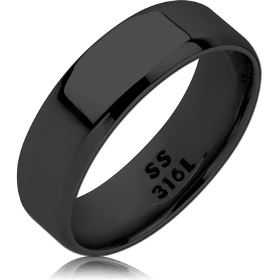 BLACK PVD COATED SURGICAL STEEL RING - BAND