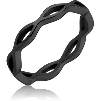 BLACK PVD COATED SURGICAL SURGICAL STEEL RING