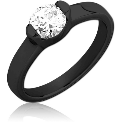 BLACK PVD COATED SURGICAL STEEL JEWELLED RING