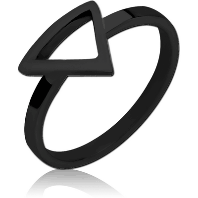 BLACK PVD COATED SURGICAL STEEL RING - TRIANGLE