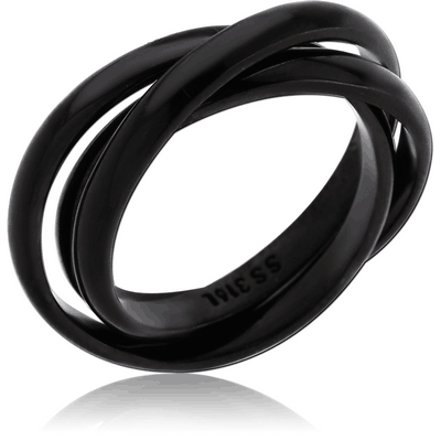 BLACK PVD COATED SURGICAL STEEL STACKED RING