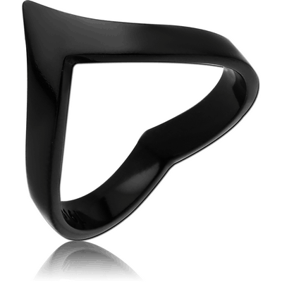 BLACK PVD COATED SURGICAL STEEL RING - HEART