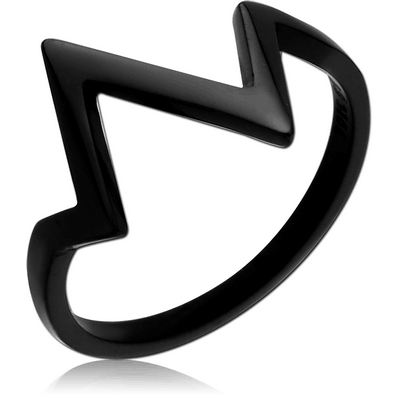 BLACK PVD COATED SURGICAL STEEL RING - PULSE