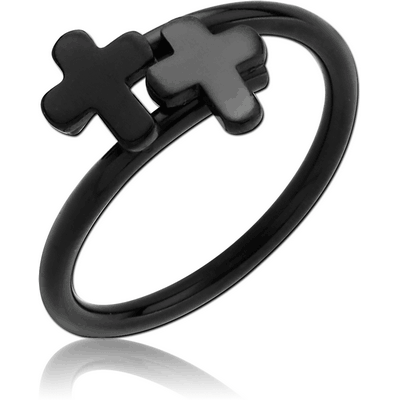 BLACK PVD COATED SURGICAL STEEL RING - CROSS