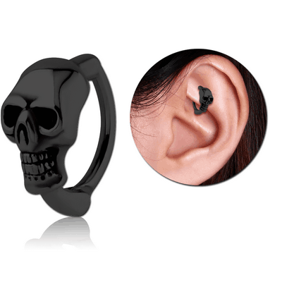 BLACK PVD COATED SURGICAL STEEL ROOK CLICKER - SKULL