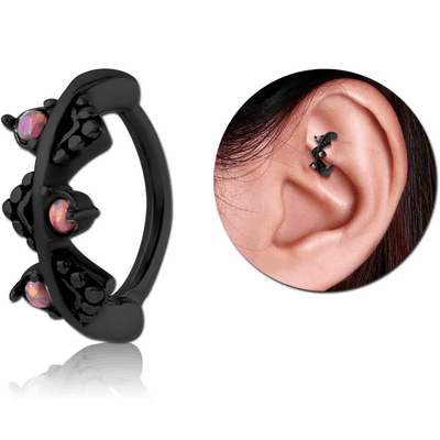 BLACK PVD COATED SURGICAL STEEL SYNTHETIC OPAL ROOK CLICKER - FILIGREE
