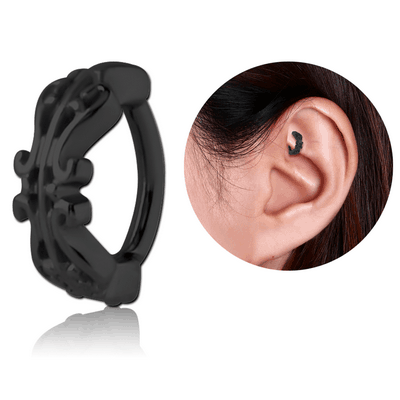 BLACK PVD COATED SURGICAL STEEL ROOK CLICKER - FILIGREE